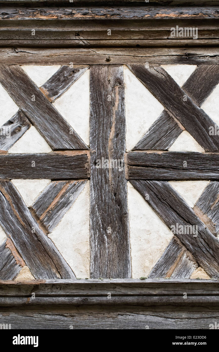 Pattern on an old half timbered building. - Stock Image