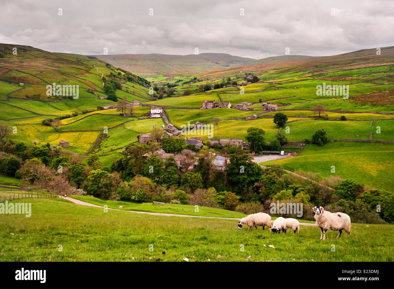 View over The Yorkshire Dales hamlet of Keld, at the junction of the Pennine Way and Coast to Coast trails, UK. - Stock Image