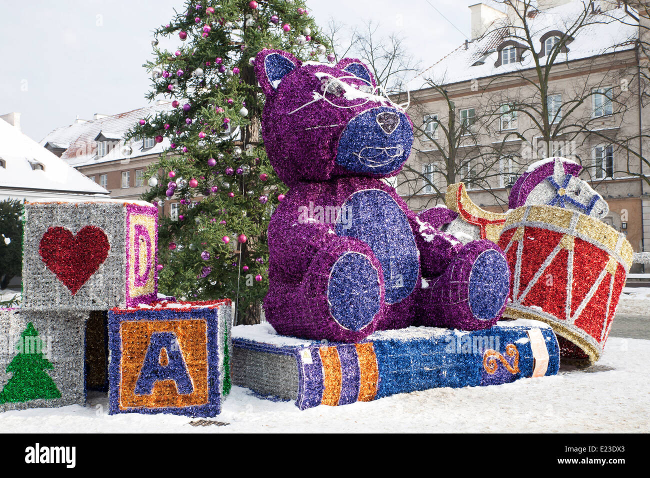 Large Scale Exterior Christmas Decorations In Warsaw, Poland