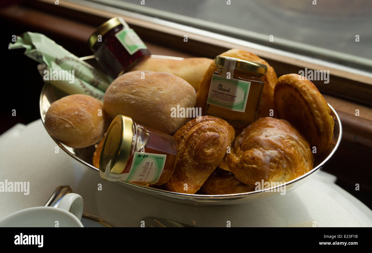 Bread and pastries served as part of breakfast in Ladurée, Rue Bonaparte, Paris - Stock Image