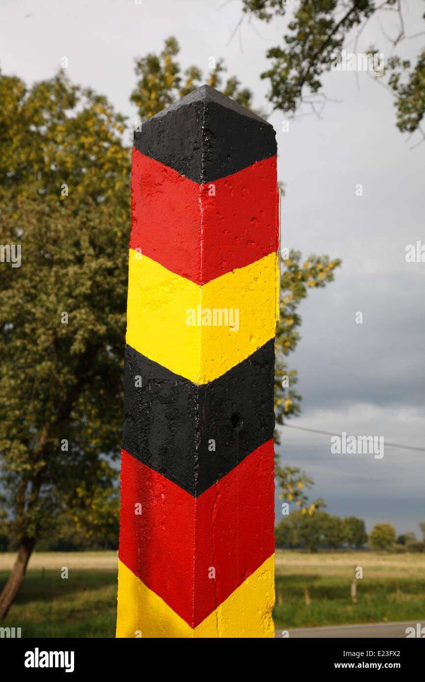 Boundery stone at former border to GDR, Amt Neuhaus, Lower Saxony, Germany, Europe - Stock Image