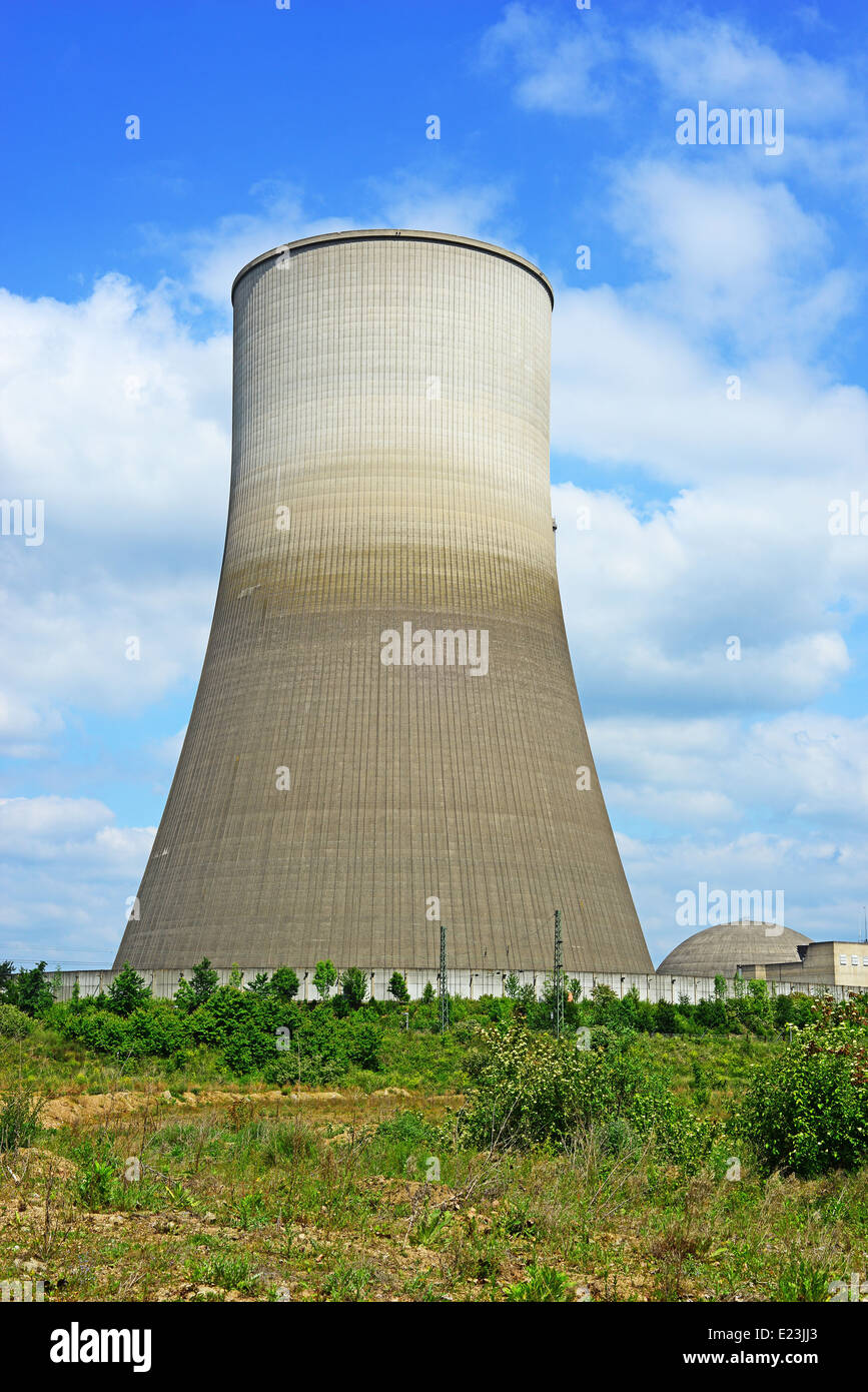 Close up image of a nuclear reactor chimney which now awaits demolition in Germany - Stock Image