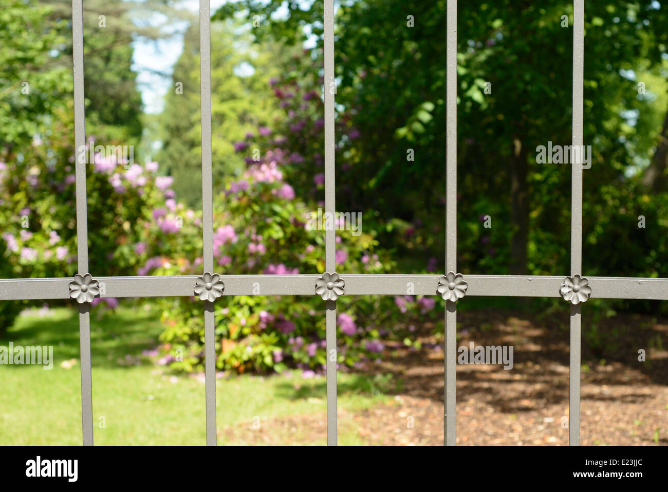 An image of a flower garden protected by an iron fence with crafted handiwork - Stock Image