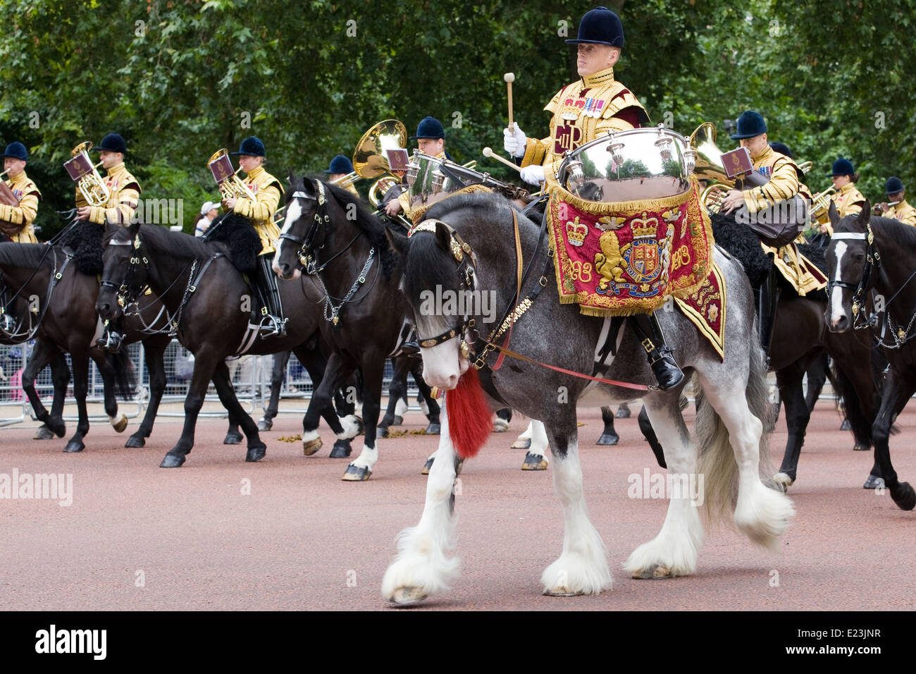 Mounted band of the Household Cavalry at Trooping the Color Mercury the Drum Horse of the Life Guards and Blues Stock Photo