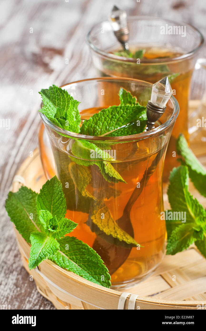 Traditional turkish tea with fresh mint. Selective focus. - Stock Image