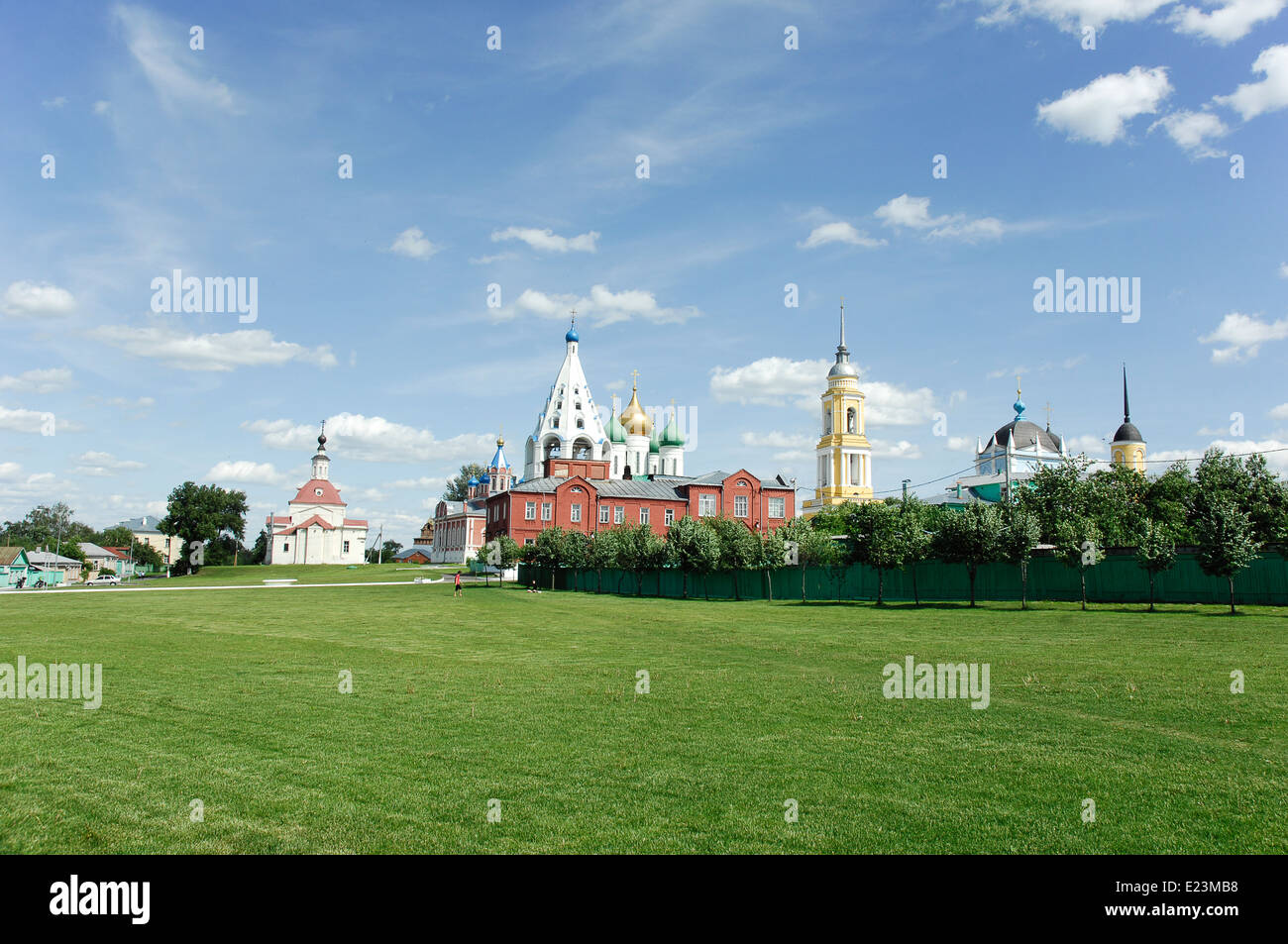 Historical center of the town Kolomna. Big field and a lot of churches shows the marvelous orthodox power of Russia Stock Photo