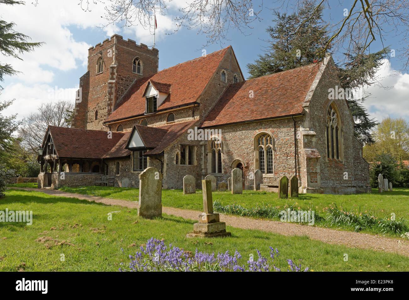 Medieval village church in the UK in springtime - Stock Image