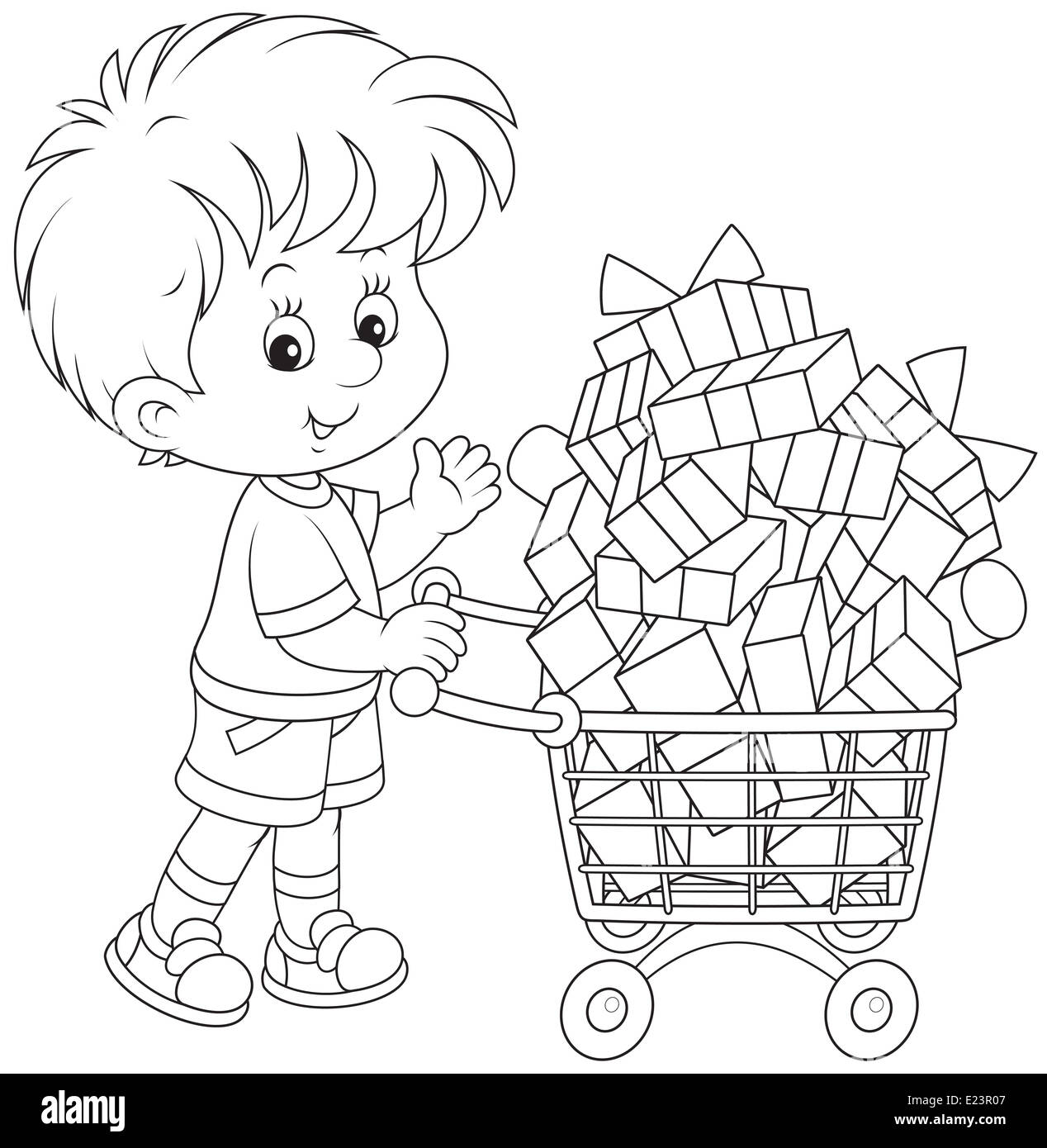 Boy with a shopping trolley of gifts - Stock Image
