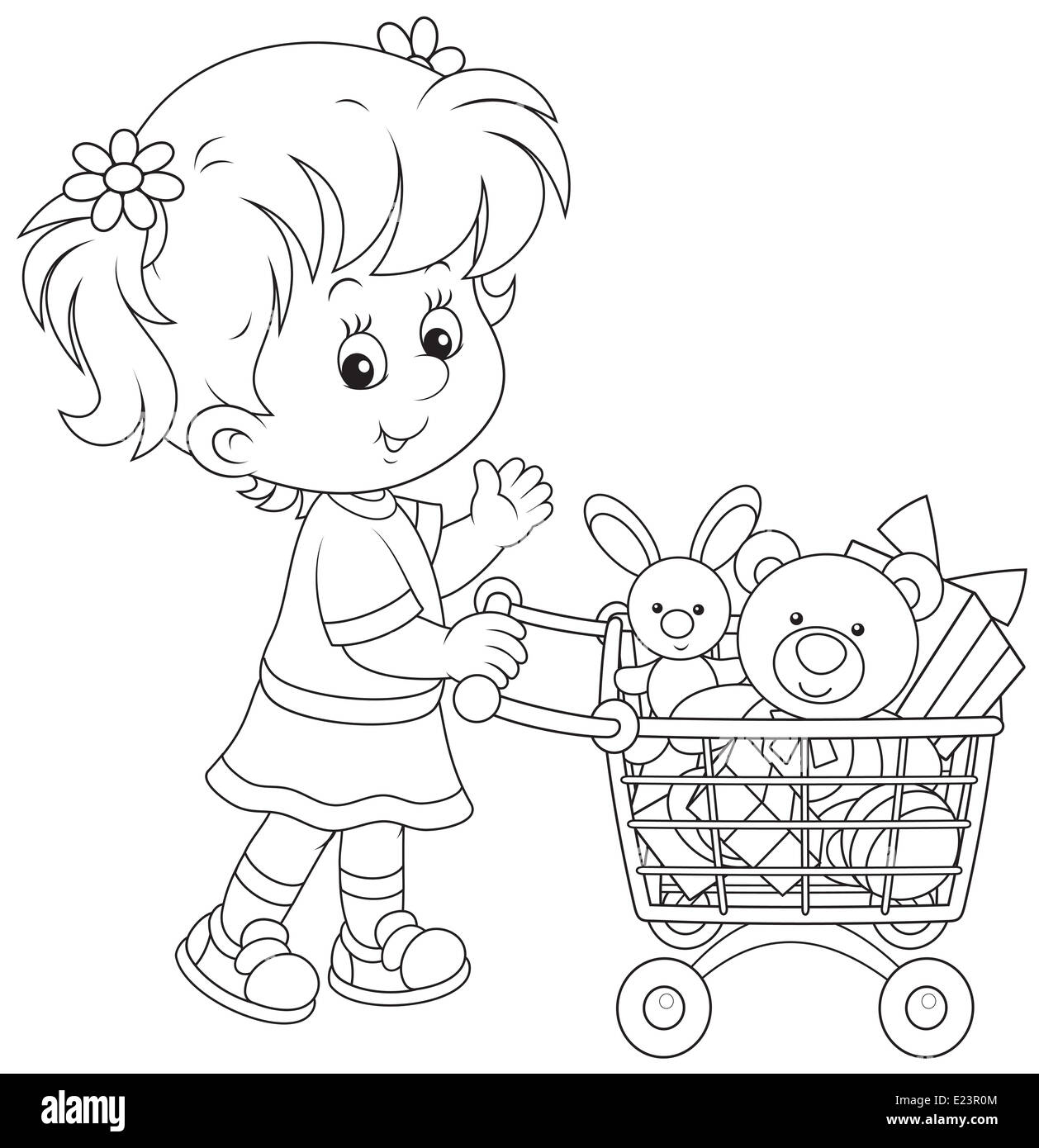 Girl with a shopping trolley of toys - Stock Image