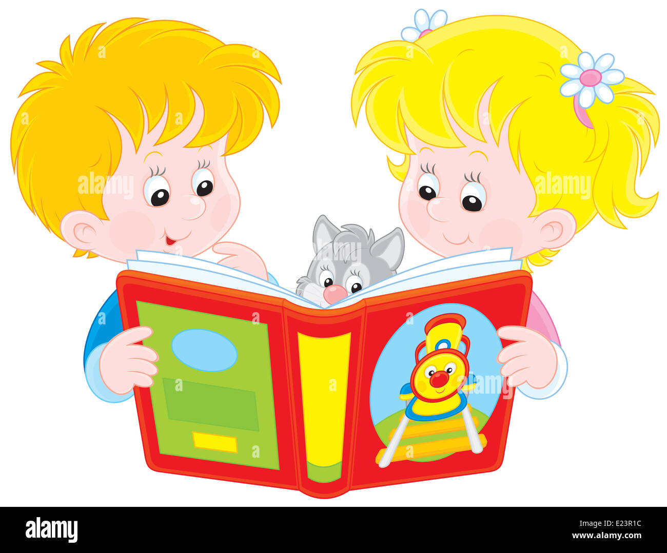 Little girl and boy reading a book - Stock Image