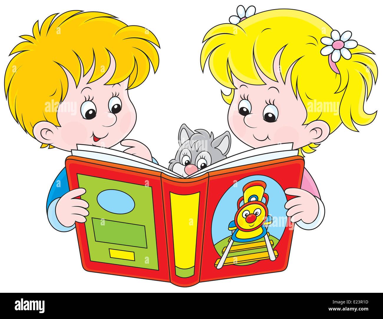 Children reading - Stock Image