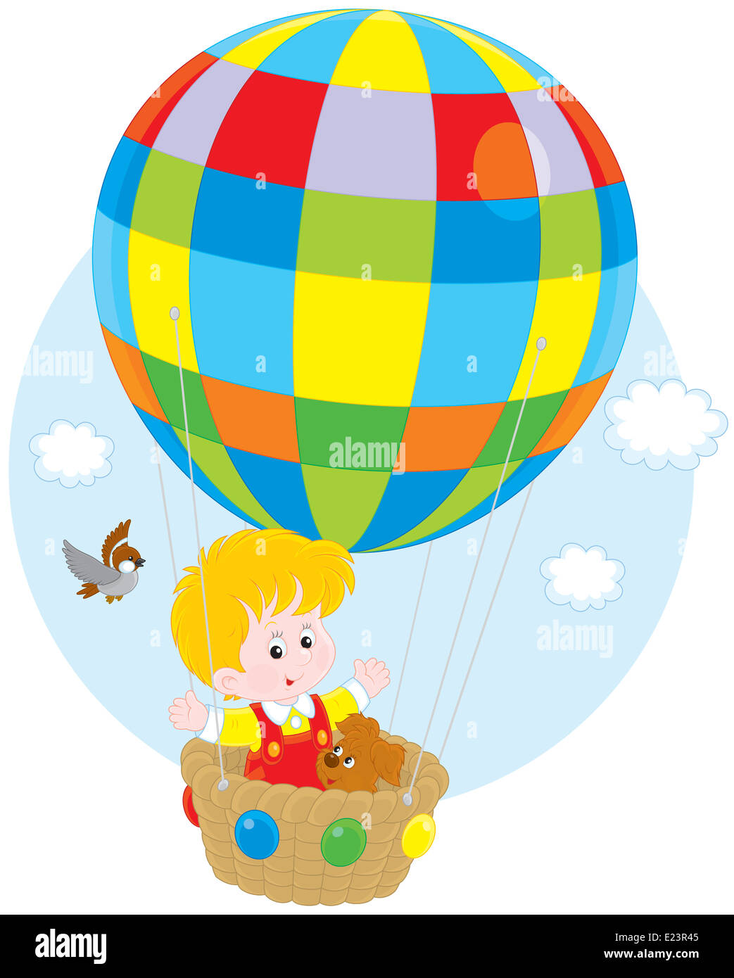 Little boy travelling with his pup on a colorful air balloon - Stock Image