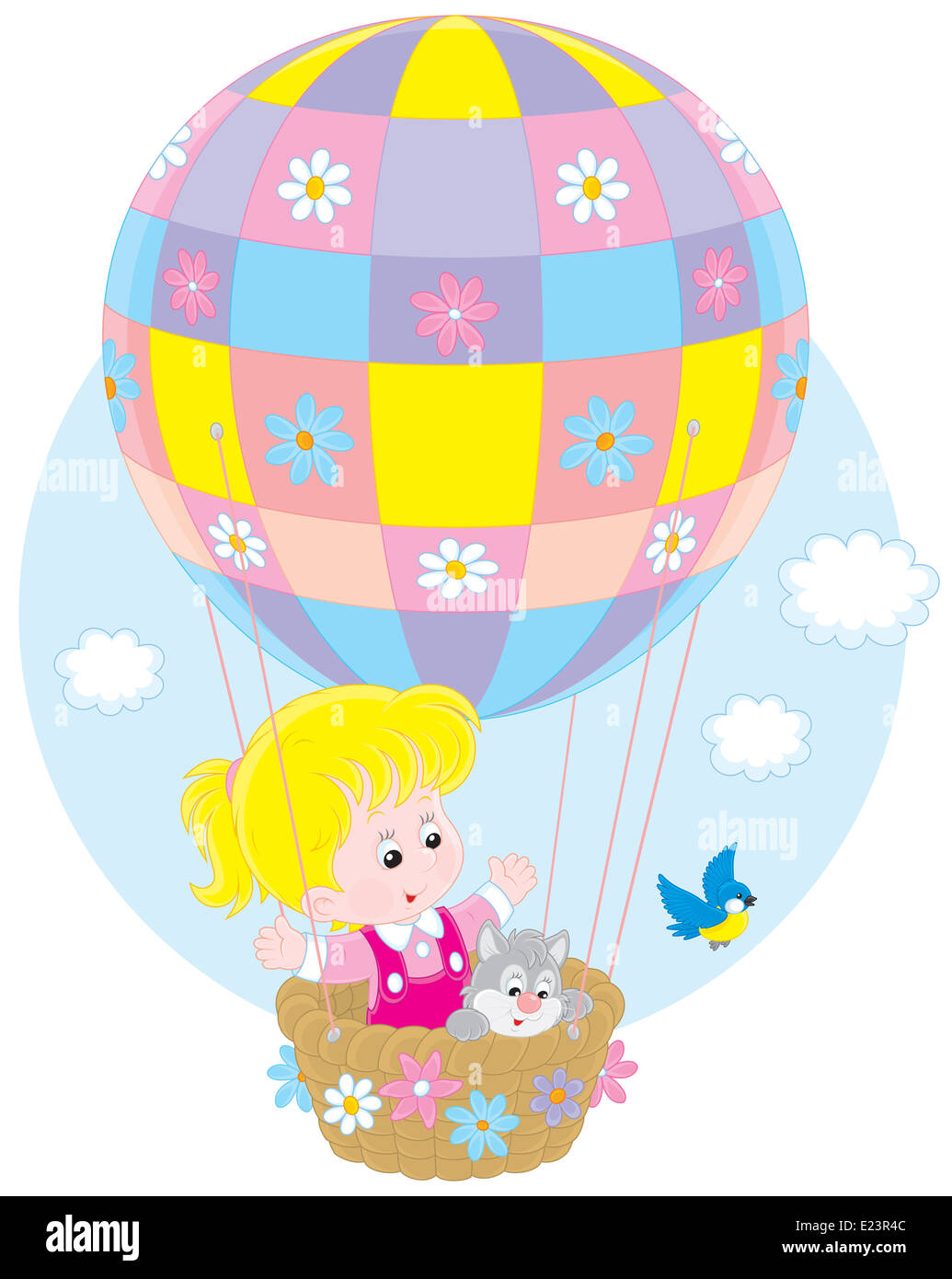 Little girl traveling with her kitten on a colorful air balloon with flowers - Stock Image