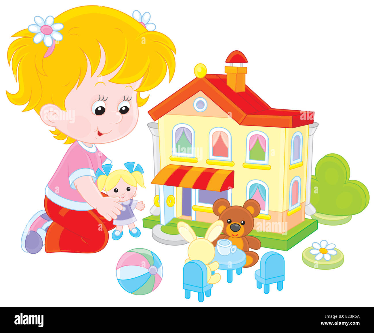 Girl with a doll and toy house - Stock Image