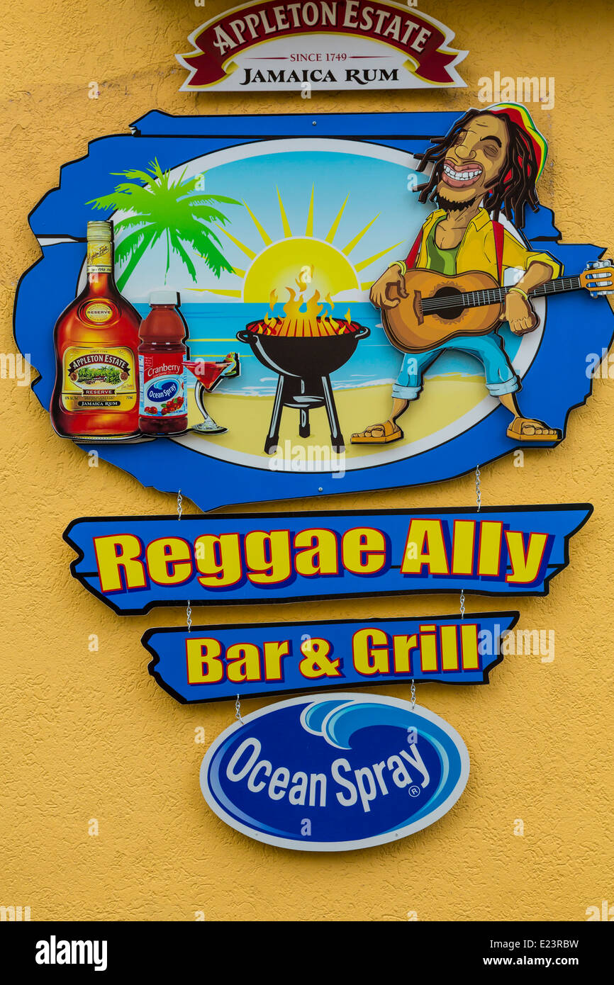 The Reggae Ally Bar and Grill sing in Ocho Rios, Jamaica, Caribbean Island. - Stock Image