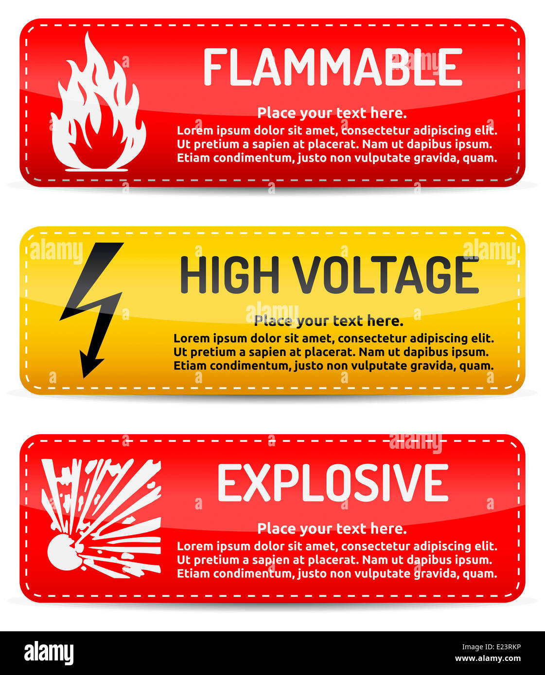 Flammable, High voltage, Explosive danger warning sign template with shadow on white background for your text. - Stock Image
