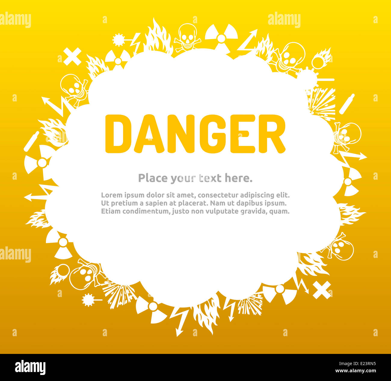 Danger sign set in cloud banner for your text. Hazard symbol template. Stock Photo
