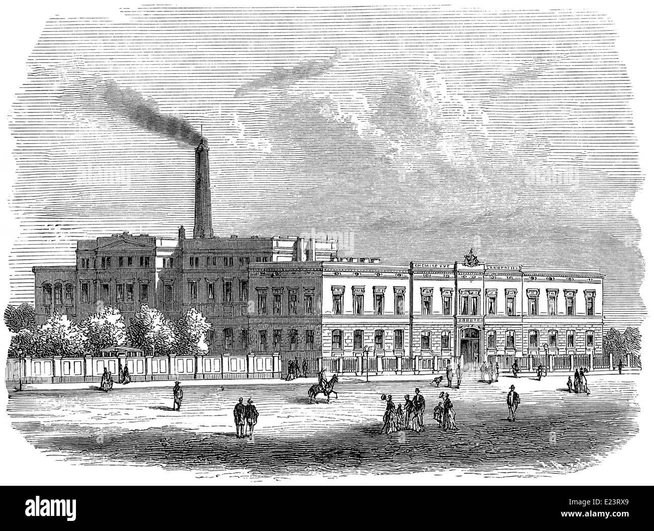 Chemical laboratory, 1886, University Leipzig, Germany - Stock Image