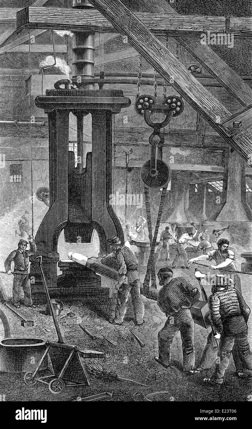 steam hammer, 19th century, - Stock Image