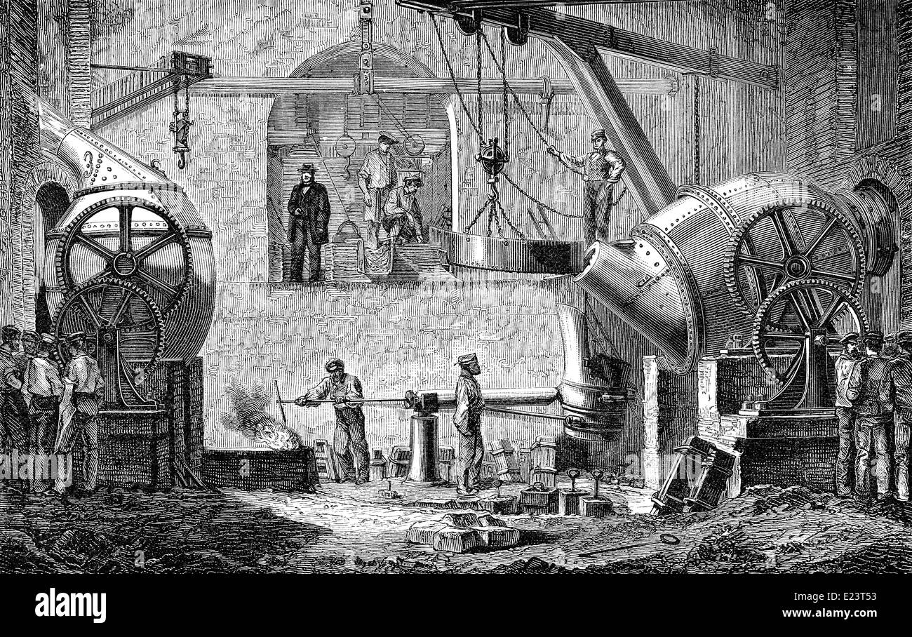 Technical processing of iron in a Bessemer converter, 1886, - Stock Image