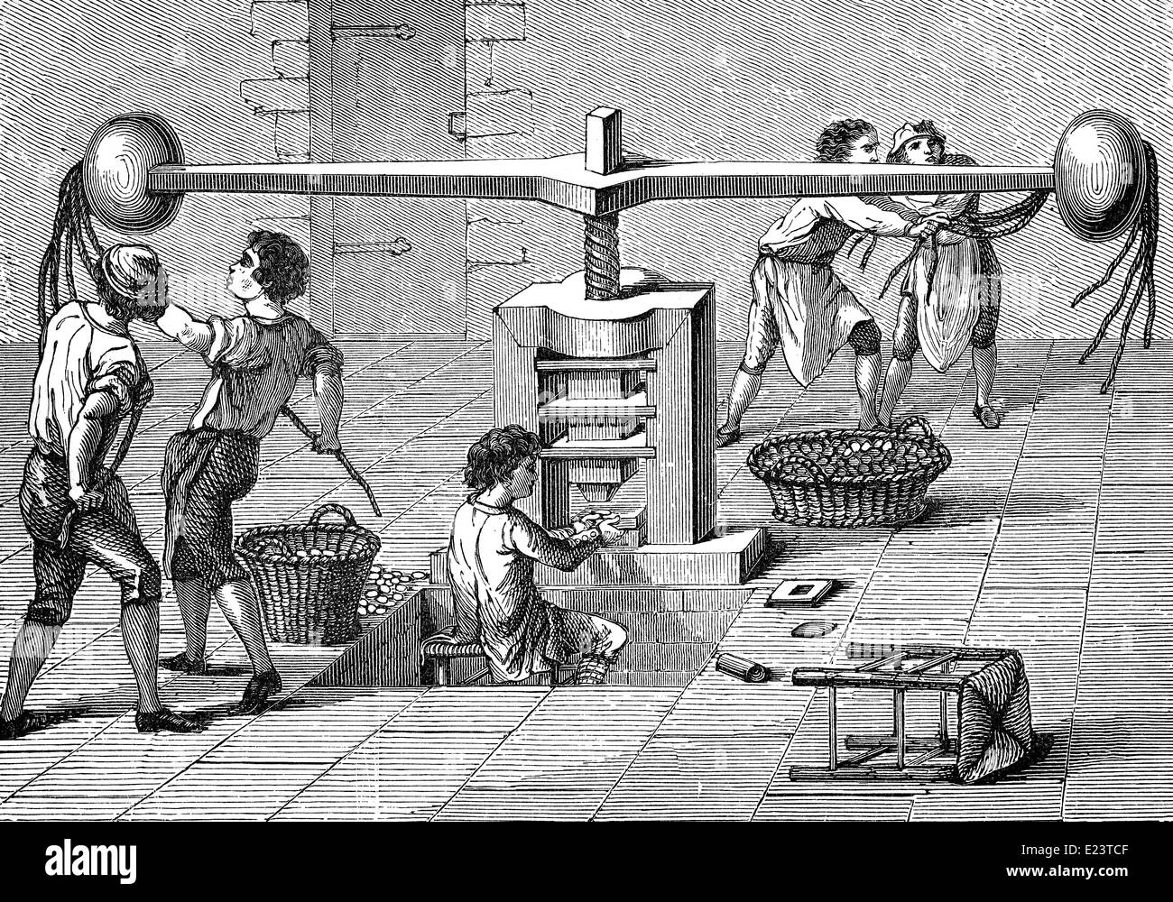 Historical machine for coin production - Stock Image