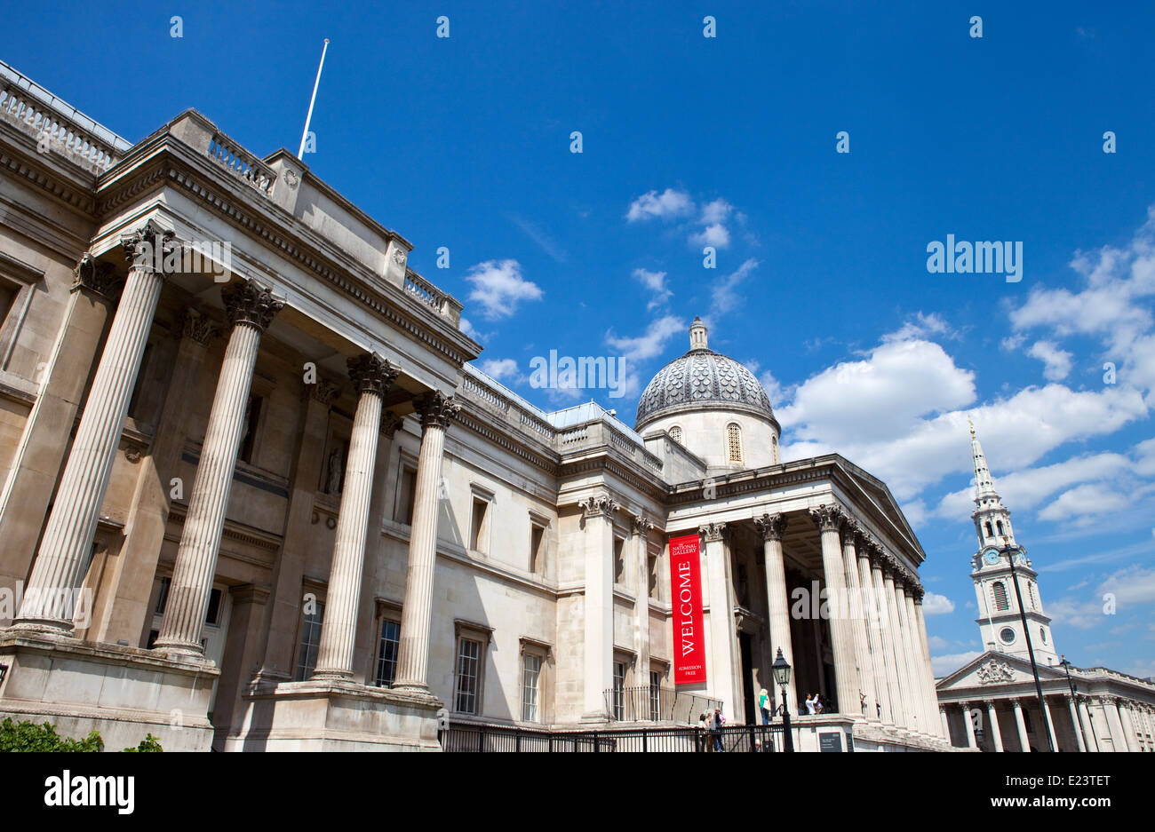 LONDON, UK - JUNE 12TH 2014: The magnificent National Gallery and St Martin in the Fields Church in london on 12th - Stock Image