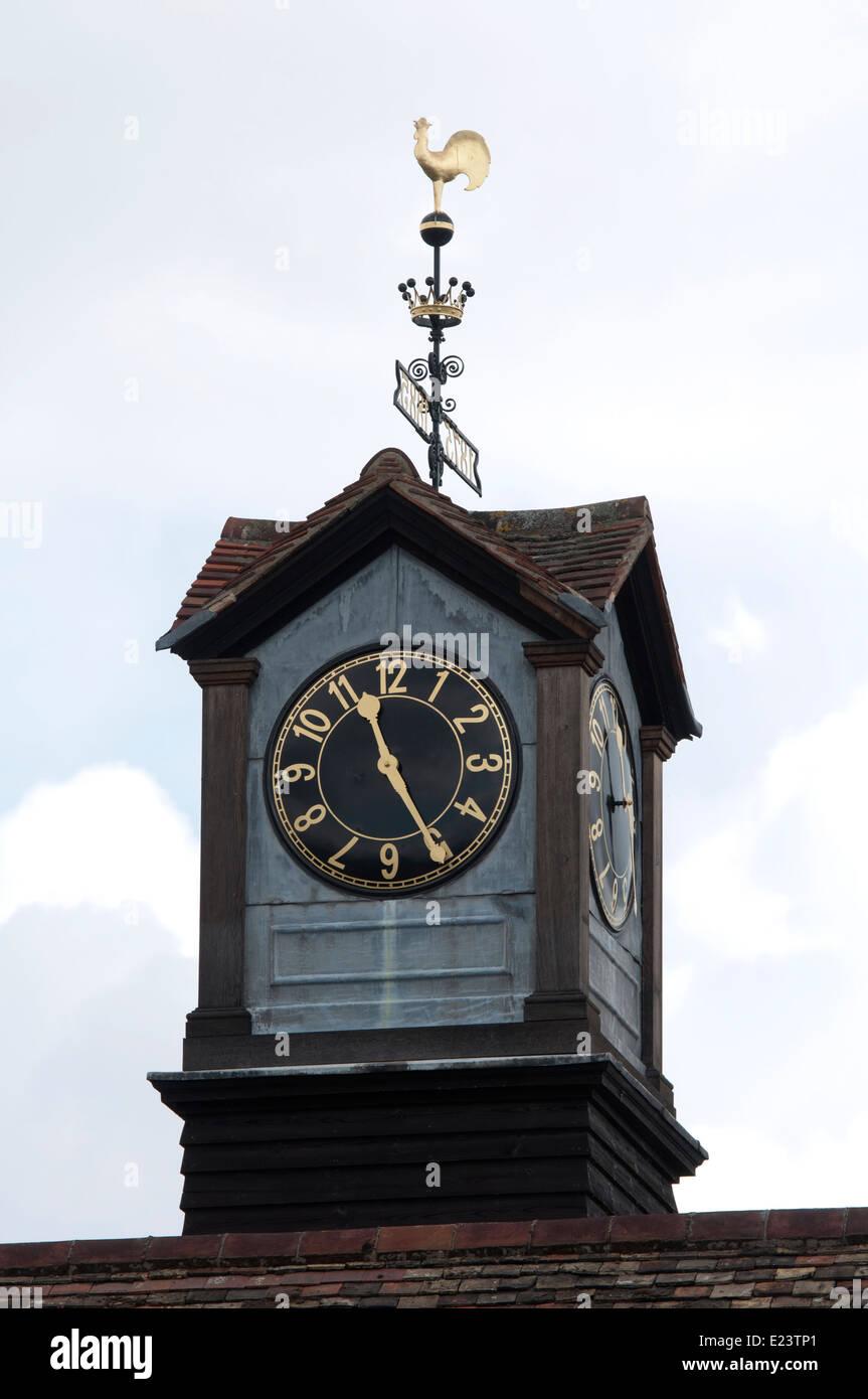 Clock on Jesus College boathouse, Cambridge, UK - Stock Image