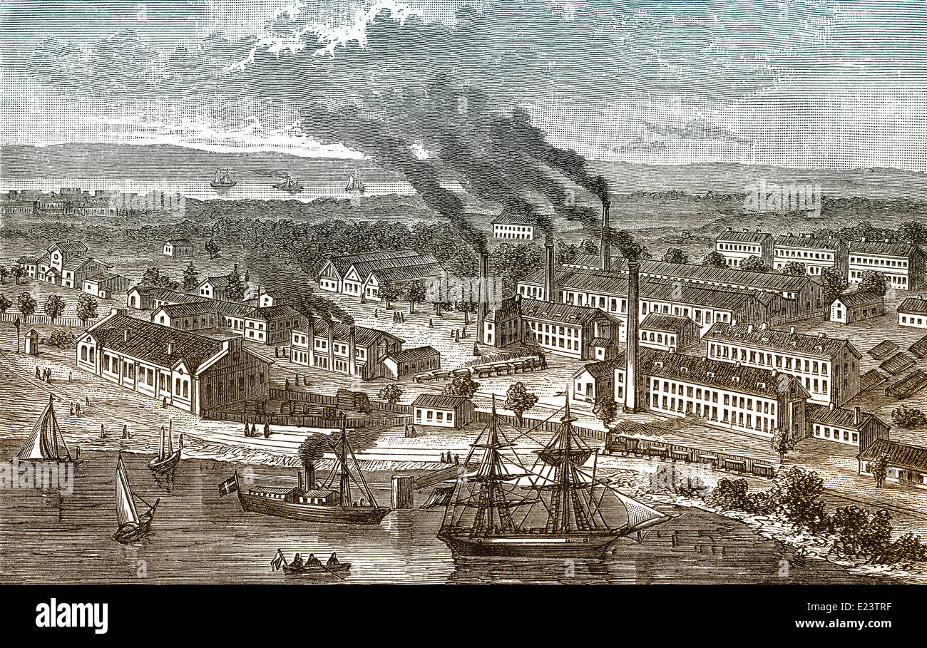 Matchstick industry in Jönköping, Sweden, 19th century, Stock Photo