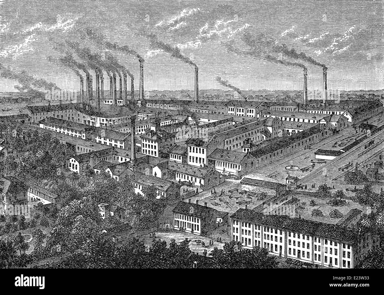 synthetic ultramarine manufacturing site, Nuremberg, Germany, 1886 - Stock Image
