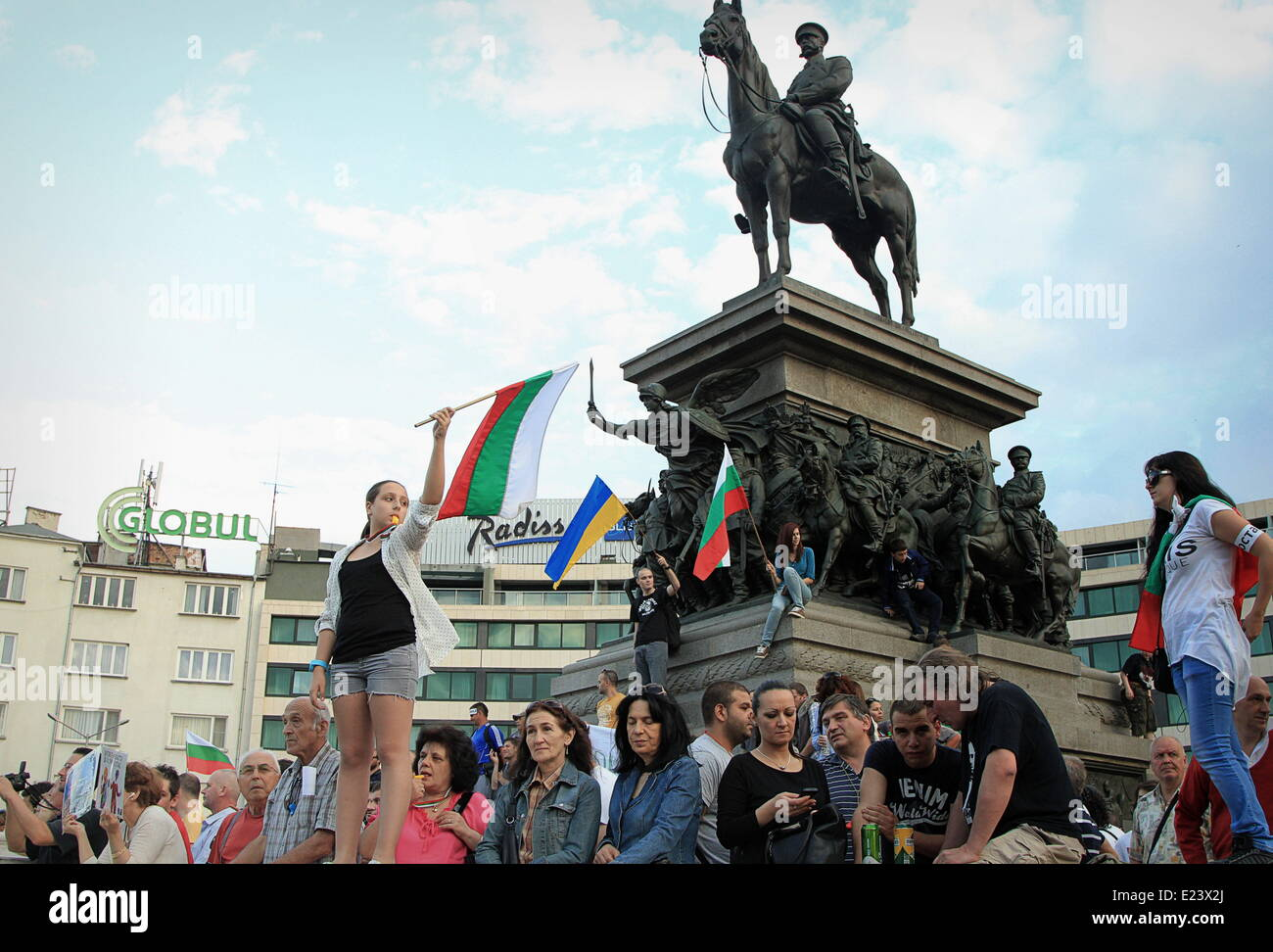 June 14, 2014 - Many posters and banners in support of Ukraine and against Russian imperialism, in Sofia, Bulgaria, - Stock Image