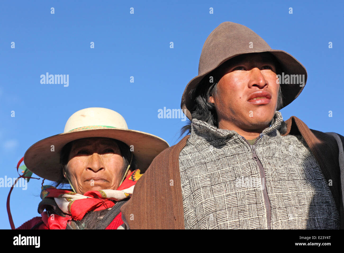 native american woman and her son, in the Andes mountains - Stock Image