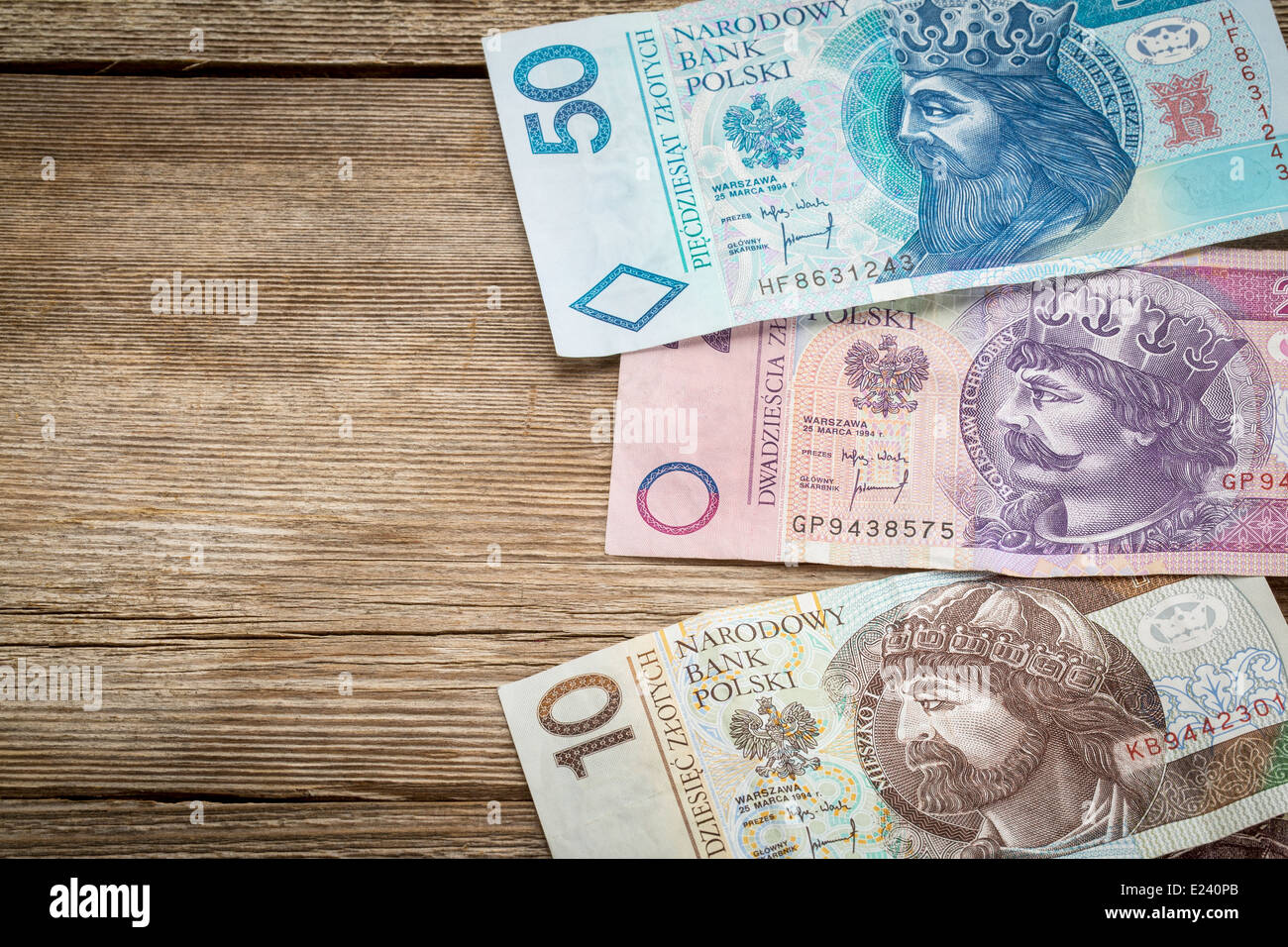 historical kings and rulers of Poland of Piast dynasty on used Polish banknotes (PLN - zloty) - Stock Image