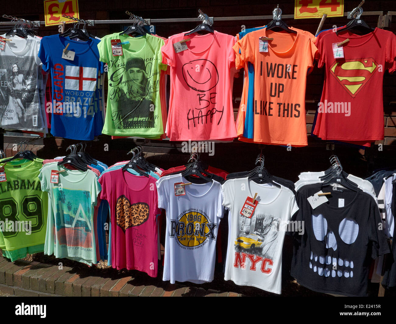 Trendy Printed T Shirts For Sale In Sandbach Cheshire Uk Stock Photo