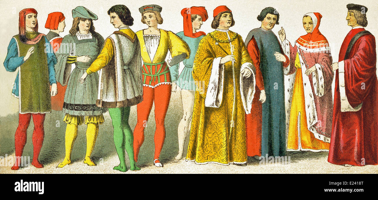 Venetian, two Florentines, page, Italian, page, Italian, magistrate, scholar, Florentine magistrate, Venetian senator - Stock Image