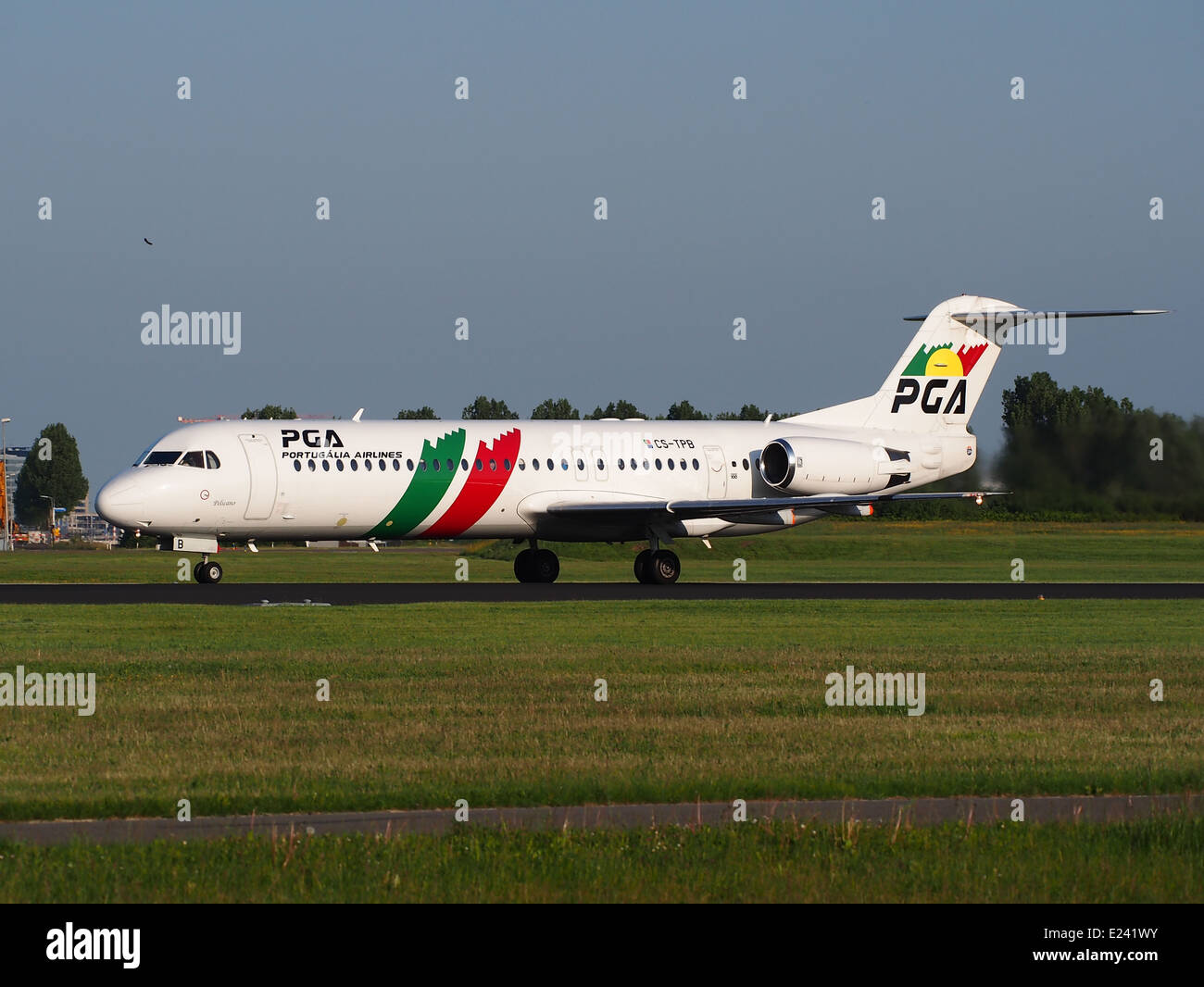 CS-TPB PGA Portugalia Fokker 100 take-off from Schiphol (AMS - EHAM), The Netherlands, 16may2014 - Stock Image