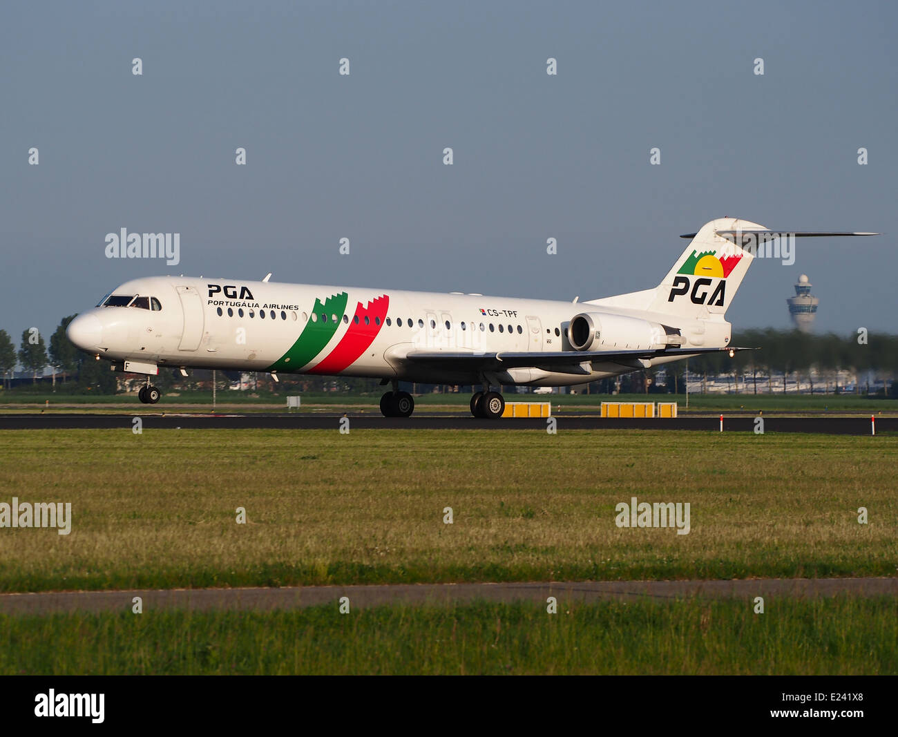 CS-TPF PGA Portugalia Fokker 100 take-off from Schiphol (AMS - EHAM), The Netherlands, 17may2014, pic-1 - Stock Image