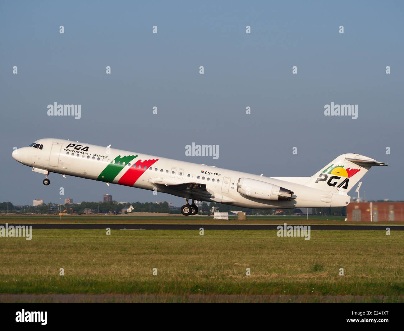 CS-TPF PGA Portugalia Fokker 100 take-off from Schiphol (AMS - EHAM), The Netherlands, 17may2014, pic-2 - Stock Image