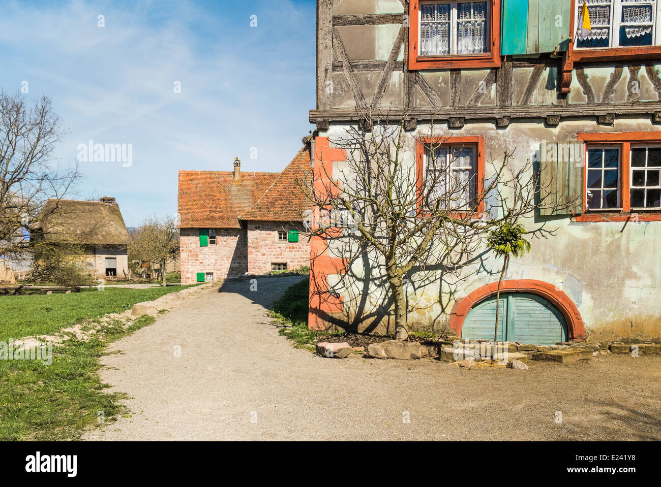 historical half-timbered houses at the écomusée d´alsace, ungersheim, alsace, france - Stock Image