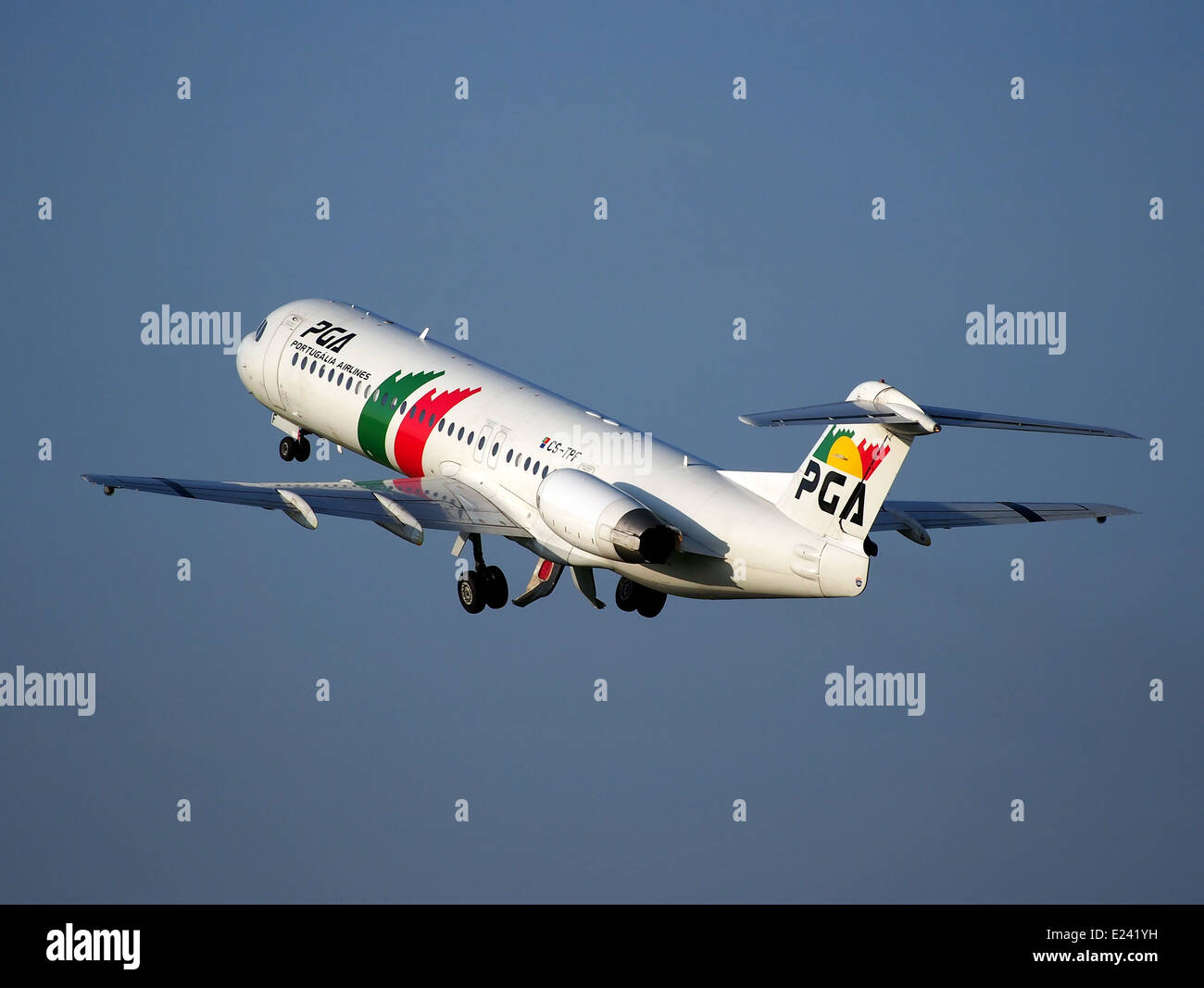 CS-TPF PGA Portugalia Fokker 100 take-off from Schiphol (AMS - EHAM), The Netherlands, 17may2014, pic-3 - Stock Image