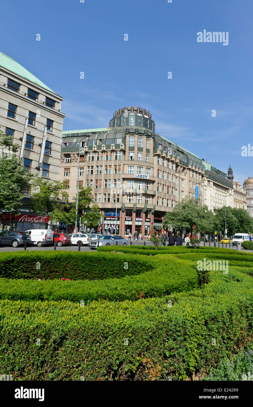 LB building in Wenceslas Square, one of Prague most popular locations with Tourists, Czech Republic. - Stock Image