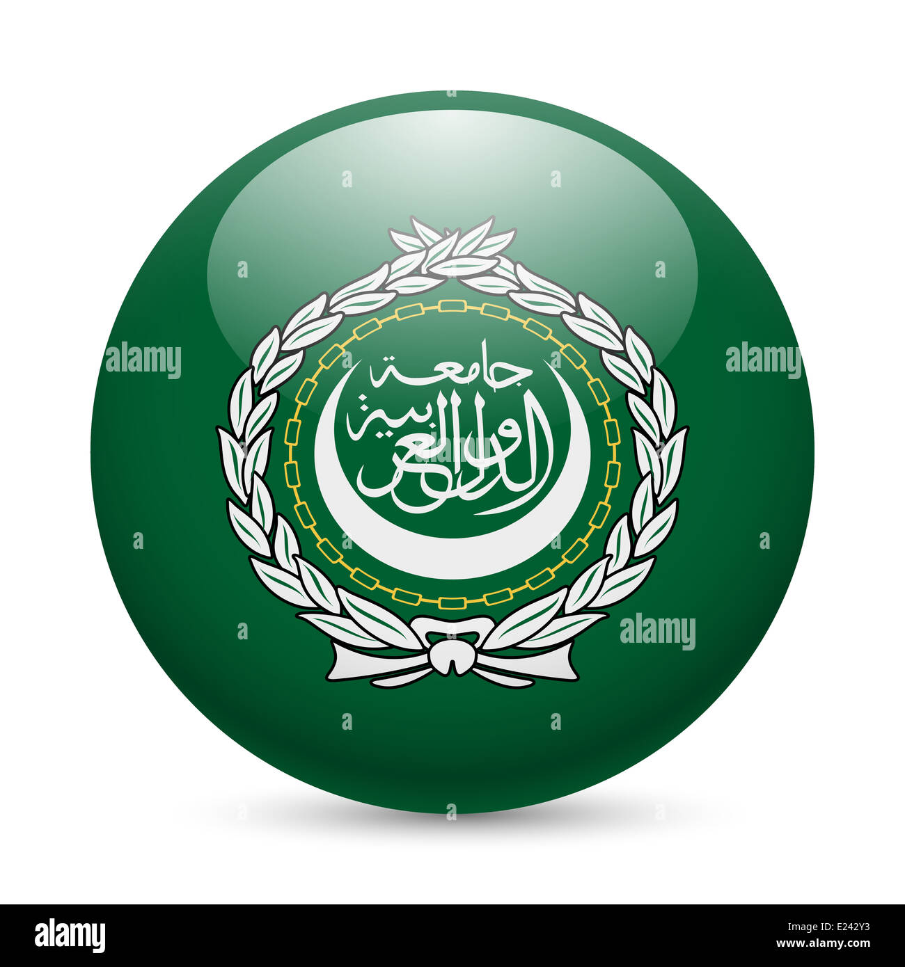 Flag of Arab League as round glossy icon. Button with flag design - Stock Image
