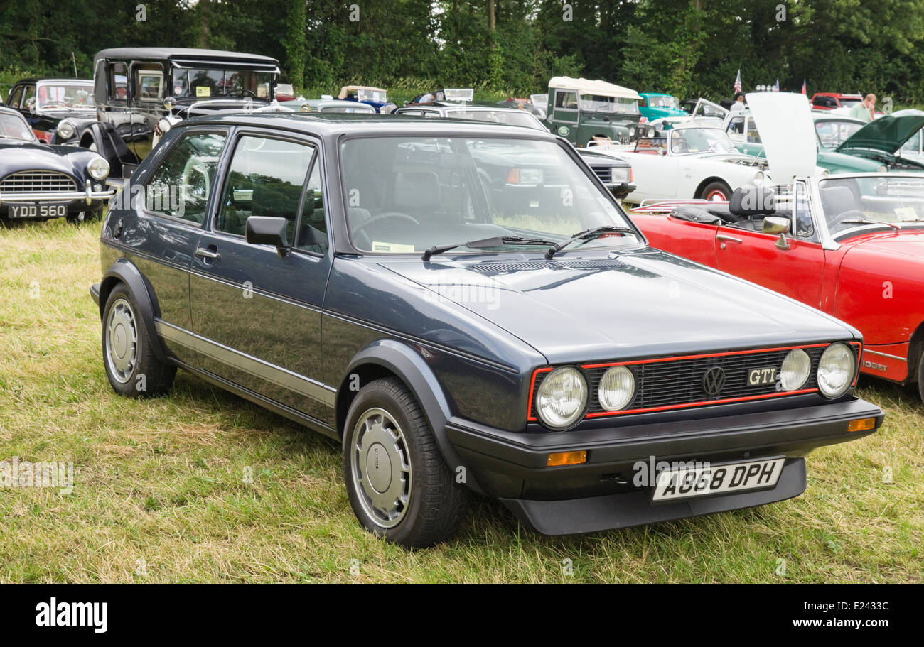 The 2014 Classic car show  on the Meadow at Berkeley Castle Berkeley Gloucestershire England. VW Golf GTi Mk 1 - Stock Image