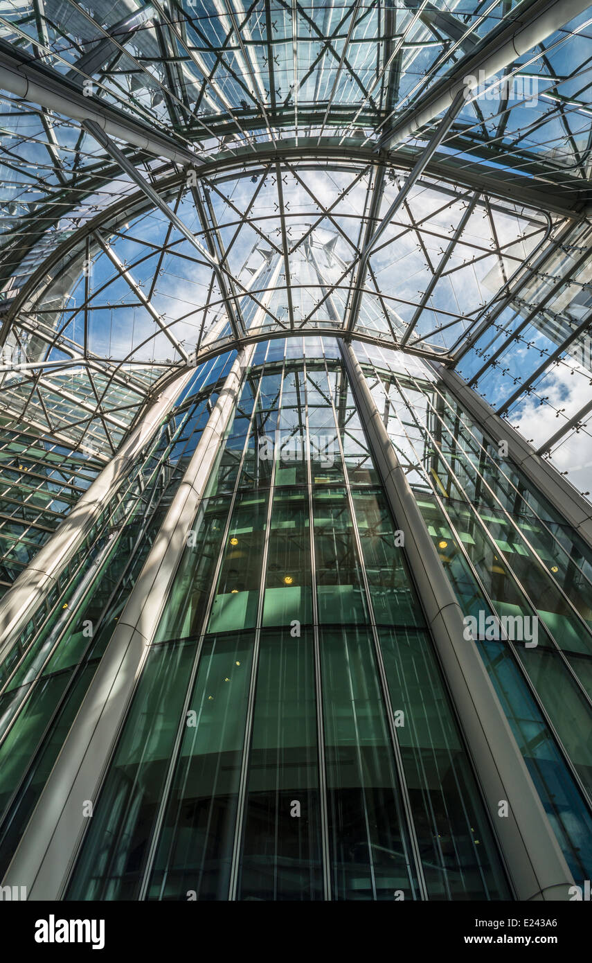 Upward view inside of the CityPoint skyscraper located on Ropemaker Streetin the City of London, UK - Stock Image