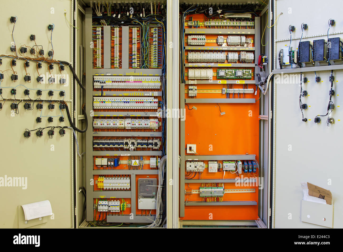 Conduit Box Stock Photos Images Alamy Wiring Distribution Board Uk Electricity With Wires And Circuit Breakers Fuse Image