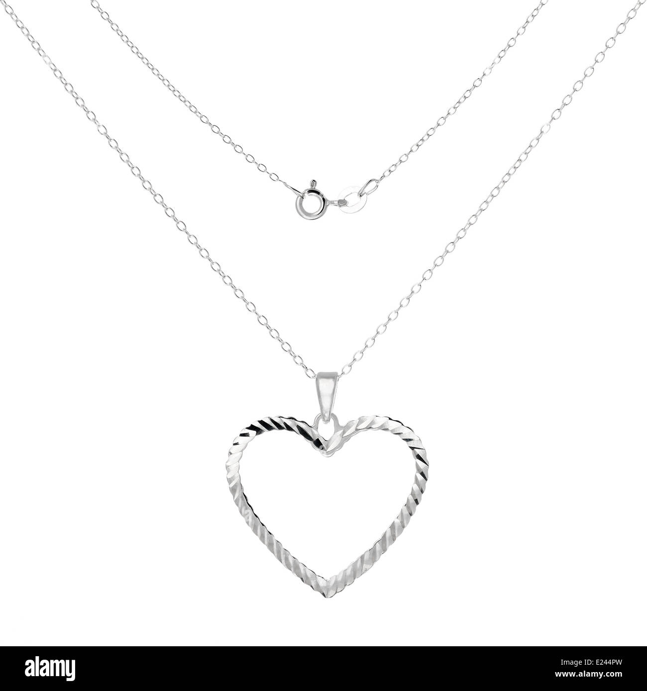 Silver necklace and pendant in the shape of heart Stock Photo