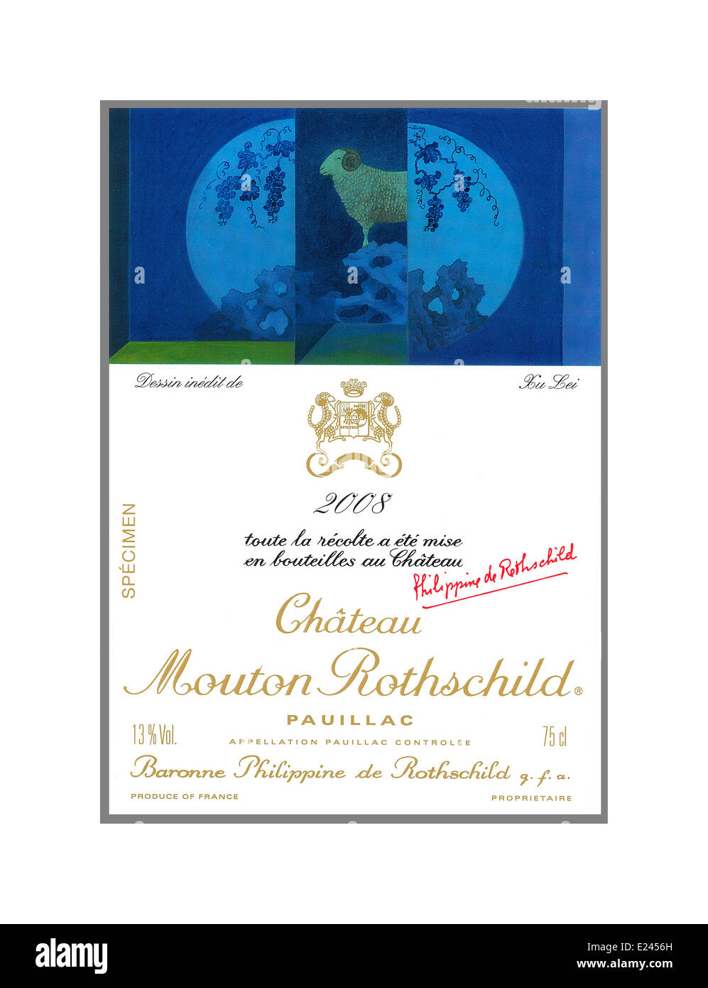 Wine bottle label for one of the greatest Bordeaux wines Chateau Mouton Rothschild 2008 Pauillac red Bordeaux wine - Stock Image