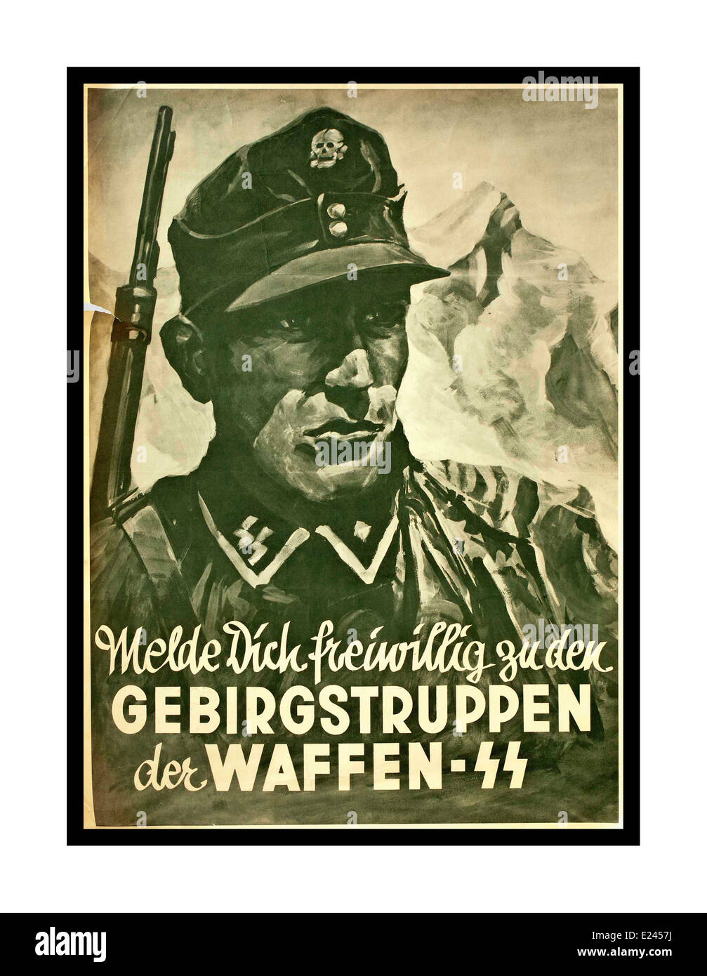 WAFFEN SS Nazi propaganda recruitment poster for mountain troops of the Waffen SS WW2 - Stock Image