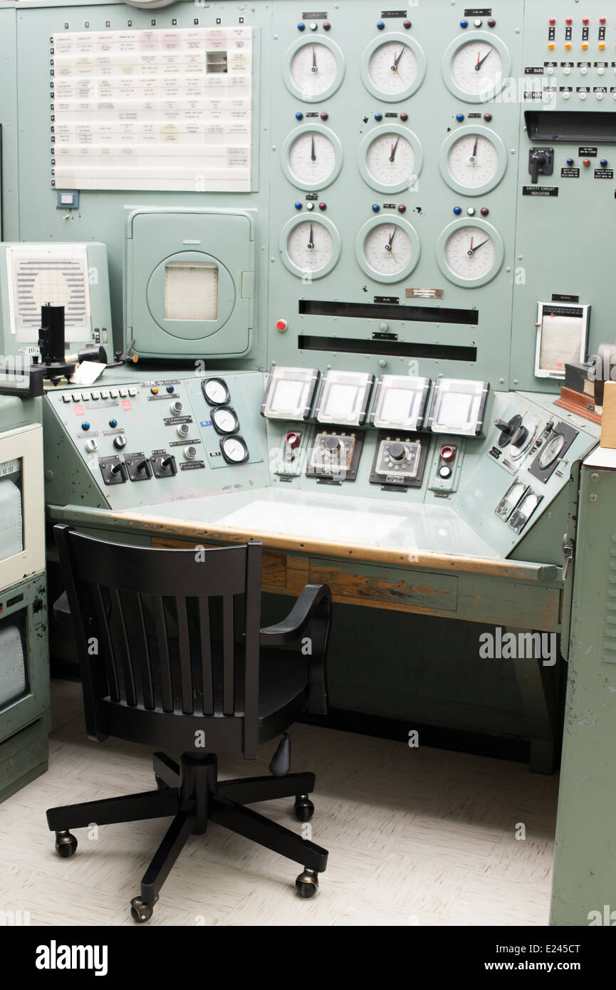 The operator's control panel for the B Nuclear Reactor in Richland, WA. - Stock Image