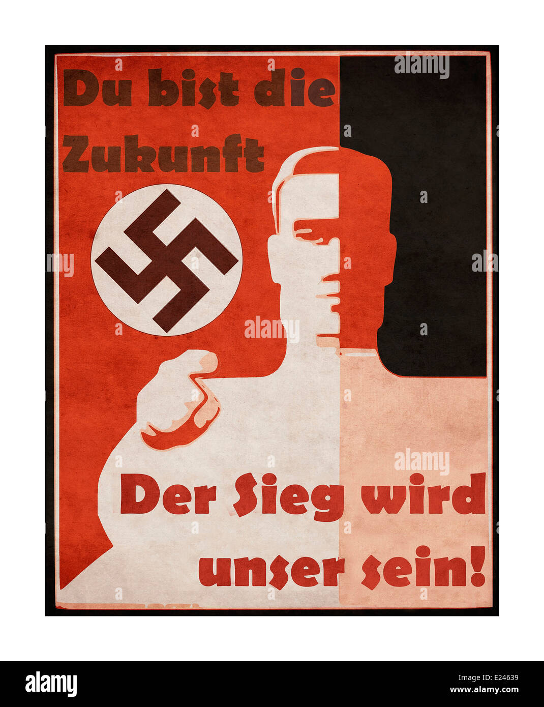 WW2 Nazi propaganda poster 1930's with swastika motif proclaiming 'You are the future' 'The victory - Stock Image