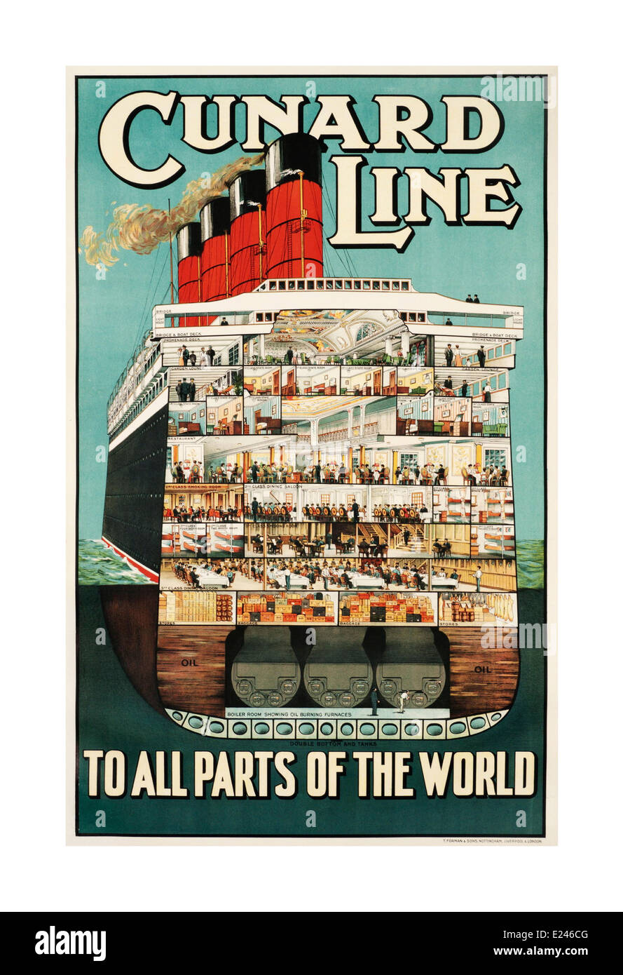 1930's vintage cruise ship poster for Cunard Line showing internal cross section of all levels of a luxury cruise - Stock Image